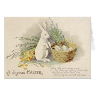 Jonquille Jonquil de panier d'oeufs de lapin de Pâ Carte De Vœux