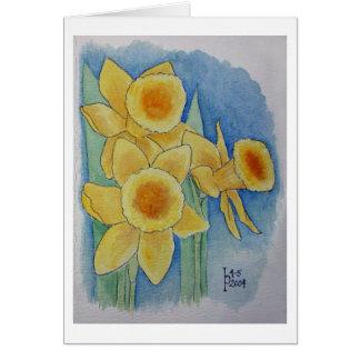 Jonquilles - aquarelle carte de vœux