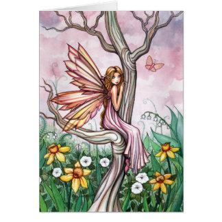 Jonquilles féeriques de ressort de fleur douce carte de vœux