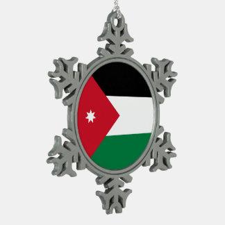 Jordan Flag Snowflake Pewter Christmas Ornament