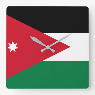 Jordan National World Flag Square Wall Clock