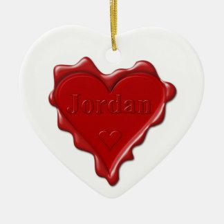 Jordan. Red heart wax seal with name Jordan Ceramic Ornament