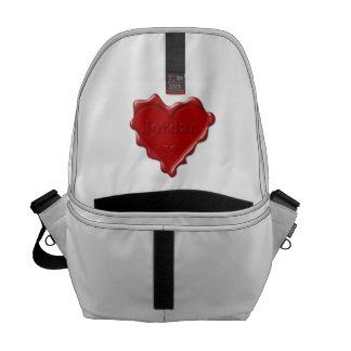 Jordan. Red heart wax seal with name Jordan Commuter Bag