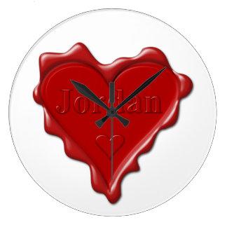 Jordan. Red heart wax seal with name Jordan Large Clock