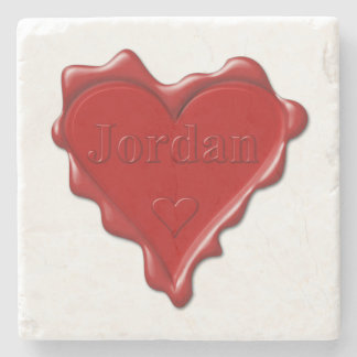 Jordan. Red heart wax seal with name Jordan Stone Beverage Coaster