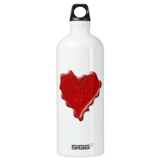 Jordan. Red heart wax seal with name Jordan Water Bottle