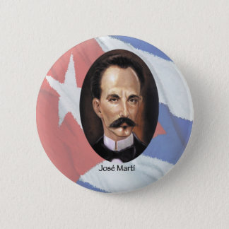 Jose Marti on Cuban Flag 2 Inch Round Button