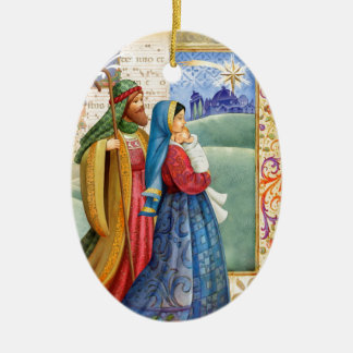 Joseph and mary with Jesus Ceramic Oval Ornament
