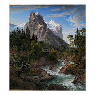 Joseph Anton Koch Reichenbach Valley Mountains Poster