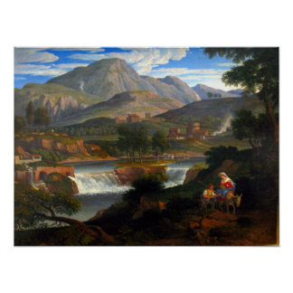 Joseph Anton Koch Waterfalls at Subiaco Poster