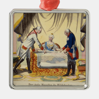 Joseph II, Catherine the Great and Frederick II Silver-Colored Square Ornament