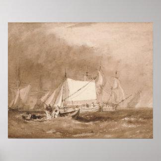 Joseph Mallord William Turner - Shipping Scene Poster