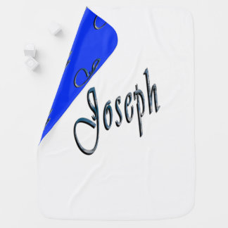 Joseph Name Logo, Snugly Reversible Baby Blanket. Baby Blanket
