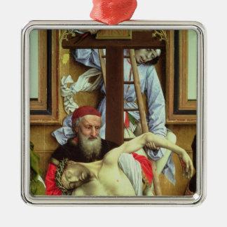 Joseph of Arimathea Supporting the Dead Christ Silver-Colored Square Ornament