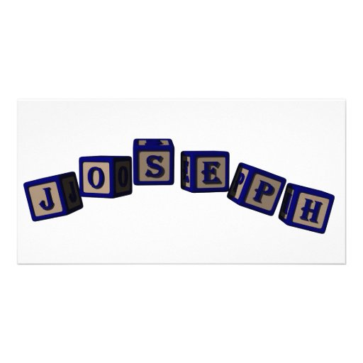 Joseph toy blocks in blue personalized photo card