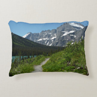 Josephine Lake Trail with Mount Guild at Glacier Decorative Pillow