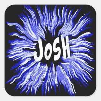 Josh Name Star in Blue Square Sticker