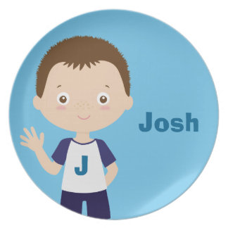josh | personalized melamine plate for boy