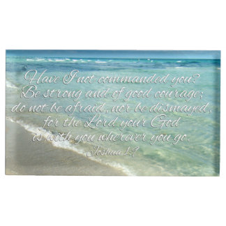 Joshua 1:9 Bible Verse Christian Beach Place Card Holder