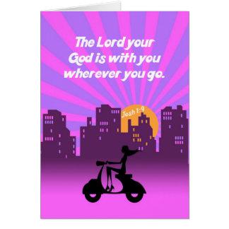 Joshua 1:9 Girl on Scooter w/Skyline - Bible Verse Card