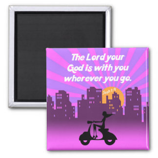 Joshua 1:9 Girl on Scooter w/Skyline - Bible Verse Square Magnet