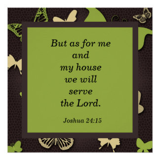 Joshua 24:15 Scripture Verse Butterfly Poster