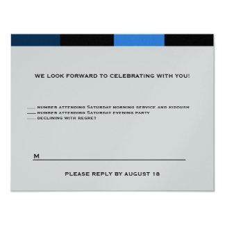 "Joshua Custom Two Event RSVP Silver 4.25"" X 5.5"" Invitation Card"