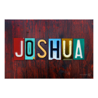 JOSHUA License Plate Letter Art Name Sign