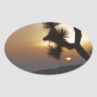 Joshua Tree at sunset Oval Sticker