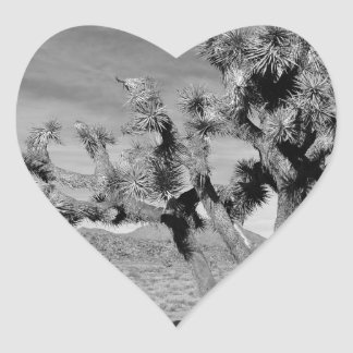 Joshua Tree (black & white) Heart Sticker