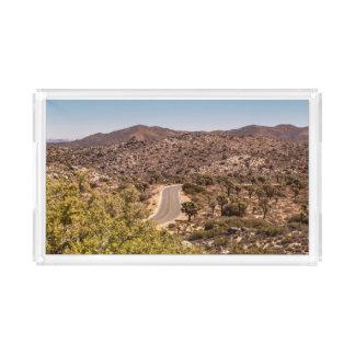 Joshua tree lonely desert road acrylic tray