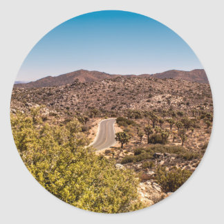 Joshua tree lonely desert road classic round sticker