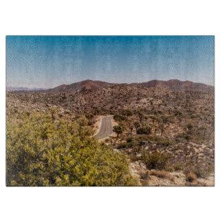 Joshua tree lonely desert road cutting board