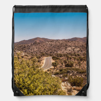 Joshua tree lonely desert road drawstring bag