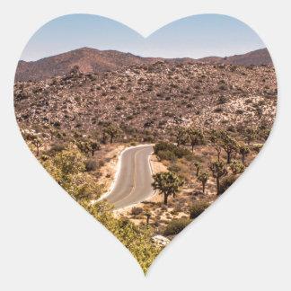 Joshua tree lonely desert road heart sticker