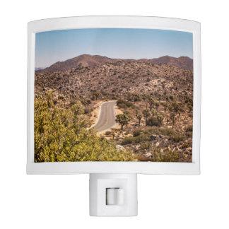 Joshua tree lonely desert road nite light
