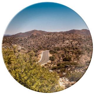 Joshua tree lonely desert road plate