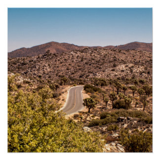 Joshua tree lonely desert road poster