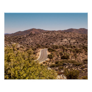 Joshua tree lonely desert road poster