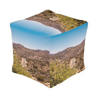 Joshua tree lonely desert road pouf