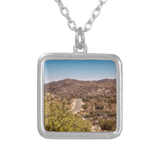 Joshua tree lonely desert road silver plated necklace