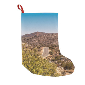 Joshua tree lonely desert road small christmas stocking