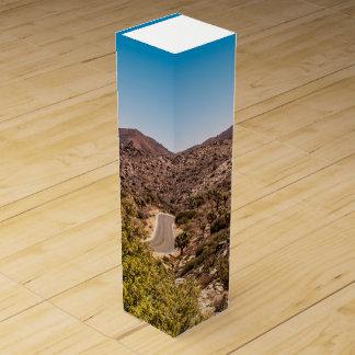 Joshua tree lonely desert road wine bottle boxes