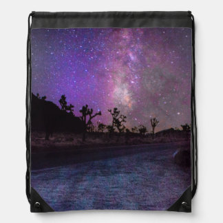 Joshua tree National Park milky way Drawstring Bag