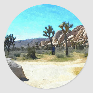 Joshua Trees and Rocks Round Sticker