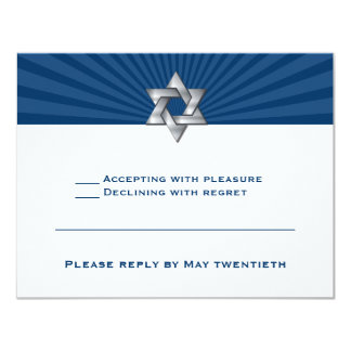 Josiah Silver Jewish Star Bar Mitzvah Invitation