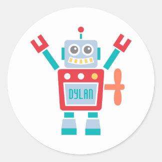 Jouet mignon vintage de robot pour des enfants sticker rond
