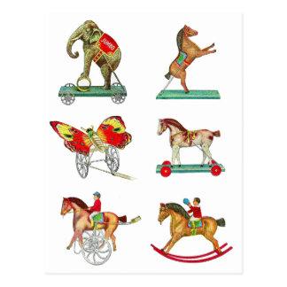 Jouets vintages de bidon de cirque de kitsch de cartes postales