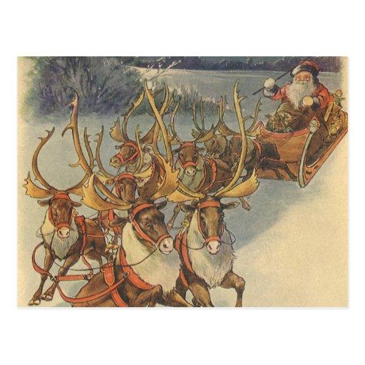 Jouets vintages de Sleigh de renne du père noël de Cartes Postales
