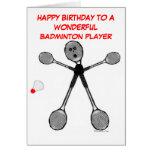 Joueur de badminton de joyeux anniversaire cartes de vœux